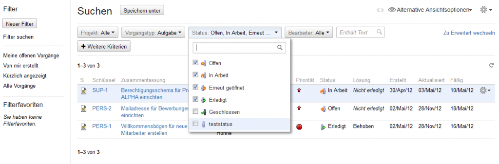 Screenshot des Vorgangsnavigators in Jira 5.2